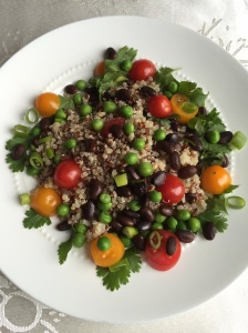 Red White Quinoa with Black Soy Beans Peas Tomatoes