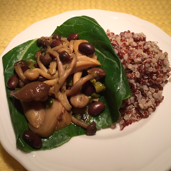 Bunashimeji Oyster Leek Beans Quinoa